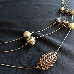 Jewelry - Triple Chain Brass Beaded Neckace
